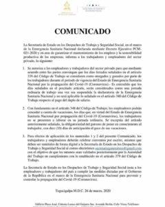 Despidos son Ilegales en Cuarentena COVID-19