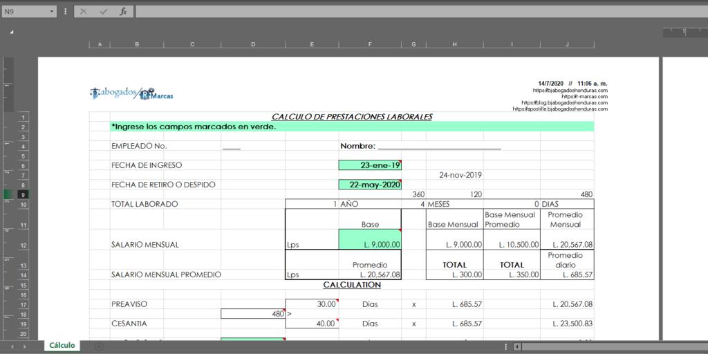 Hoja de Excel Para Calculo de Prestaciones Laborales Honduras