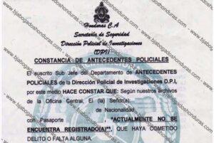 Tramitar Antecedentes Policiales en Linea en Honduras